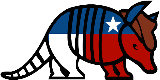DBCTX Logo: An armadillo wearing the Texas Flag and a brown cowboy hat.